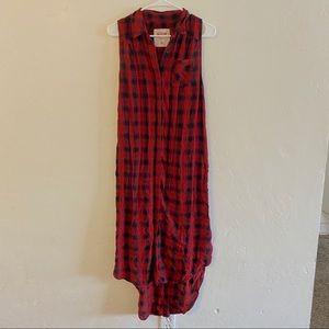 Mossimo Red & Black Plaid Button Down Maxi Dress M
